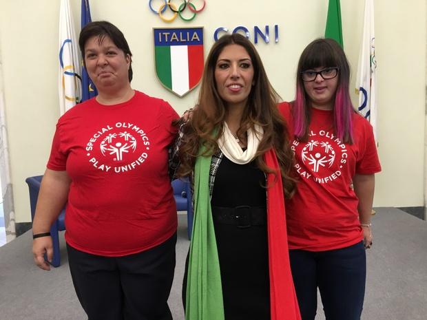 Lavinia Biagiotti Cigna con le atlete di Special Olympics