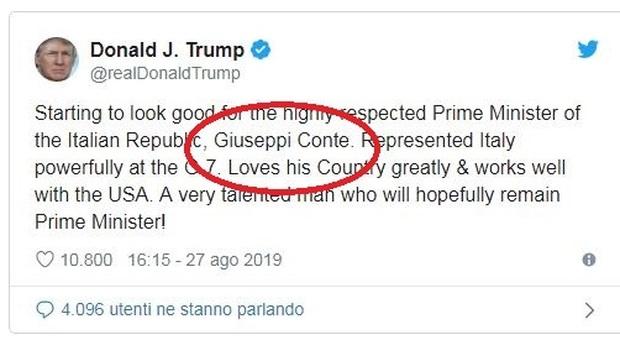 Trump su Twitter: «Speriamo che Conte resti premier»