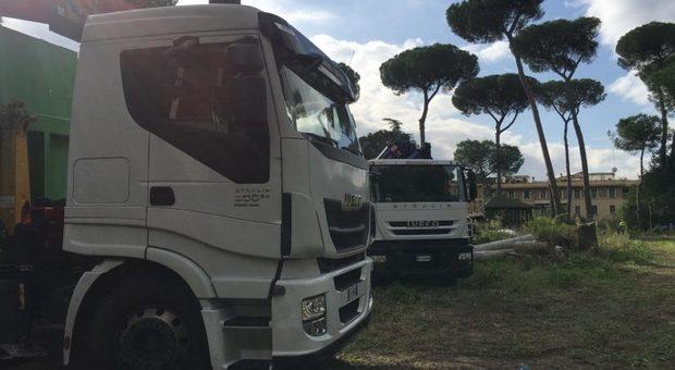 I camion del Servizio Giardini al lavoro in un parco