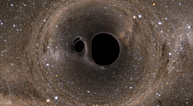 Due buchi neri che si scontrano in una rappresentazione artistica