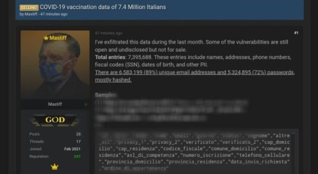 Hacker mette in vendita dati di 7.4 milioni di vaccinati italiani: rubati per lo più in Asl del centro-sud