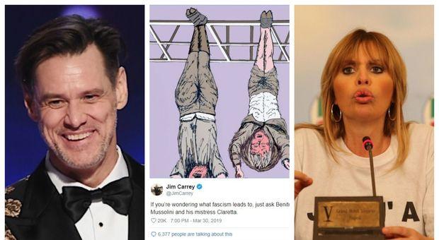 Lite fra Jim Carrey e Alessandra Mussolini: «Ecco a che cosa porta il Fascismo». Lei: «Sei un bastardo»
