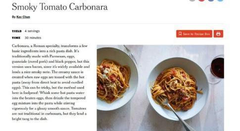Carbonara al pomodoro in Usa, Coldiretti: «Un inquietante tarocco della prestigiosa tradizione italiana»