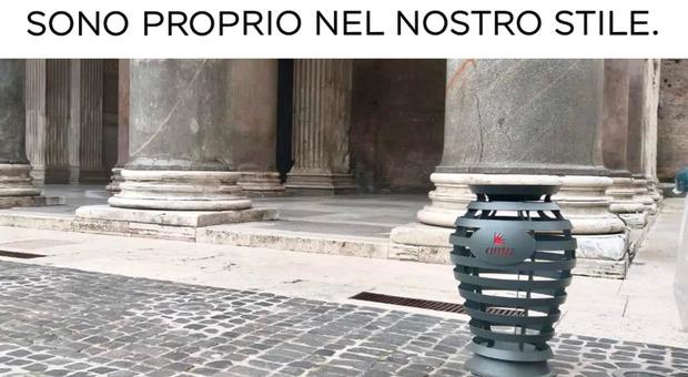 Roma, ironia sui nuovi cestini dei rifiuti. Taffo: «Sono proprio nel nostro stile»
