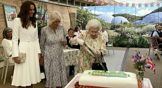 La regina Elisabetta taglia la torta con la spada al ricevimento solenne tra i sorrisi di Kate e Camilla