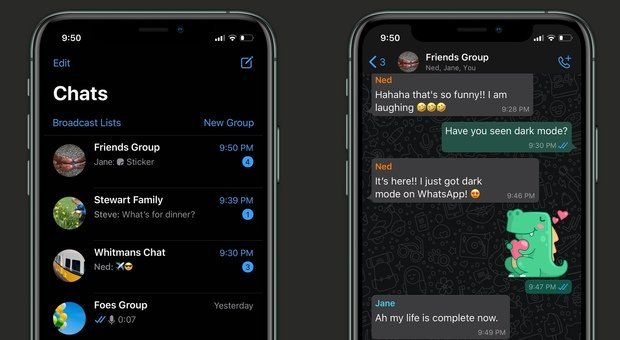 WhatsApp, dark mode attiva: ora la chat ha lo sfondo scuro, come attivarla su Android e iOS