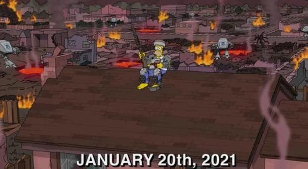 Usa 2020, i Simpson sapevano tutto: Jake Angeli è simile a un personaggio della serie