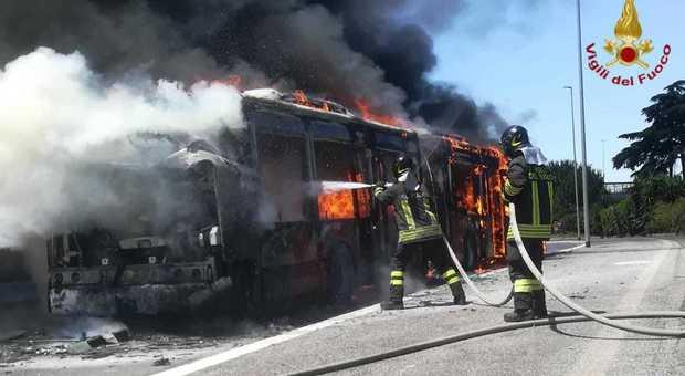 Roma, bus a fuoco