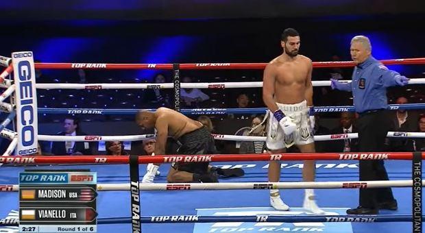 Boxe, Guido Vianello a Las Vegas manda al tappeto l'avversario in 45 secondi