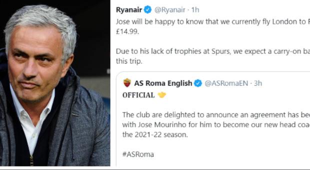 Mourinho, Ryanair prende in giro lo Special One: «A Roma solo con bagaglio a mano»
