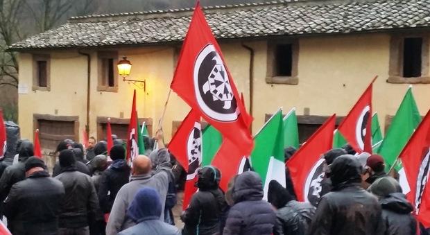 La manifestazione di Casapound a Vallerano