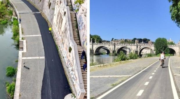 Roma, asfalto sulla ciclabile a Lungotevere. Raggi: «Ripresi i lavori, dicevano oltraggio ma giudicate a fine cantiere»