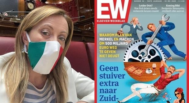 """Giorgia Meloni contro la rivista olandese che titola """"Italiani parassiti"""": «Copertina ripugnante»"""