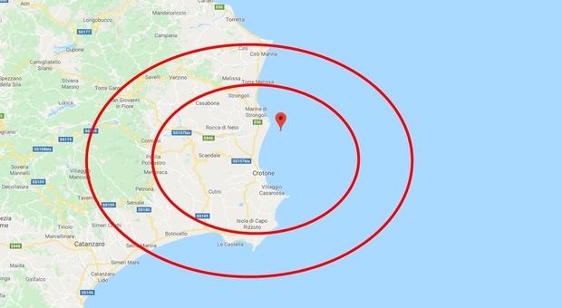 Terremoto, scossa a Crotone di magnitudo 3.7