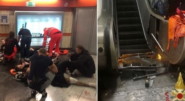 Roma, crolla scala mobile nella stazione della metro: feriti gravi