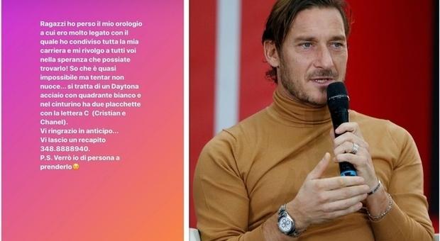 Francesco Totti perde il Rolex e fa un appello su Instagram: «Se lo trovate verrò io di persona a prenderlo»
