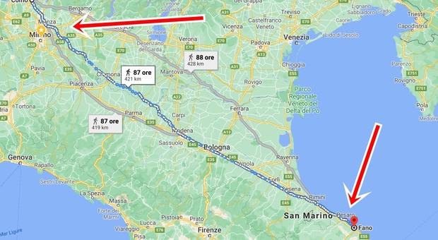 Litiga con la moglie e fa 450 km a piedi da Como a Fano per sbollire la rabbia