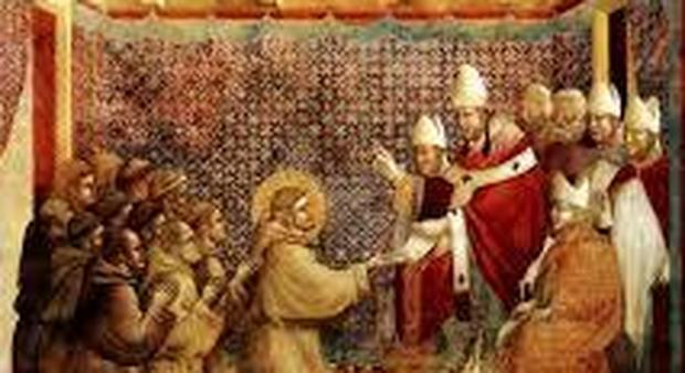 Innocenzo III conferma la regola francescana di Giotto