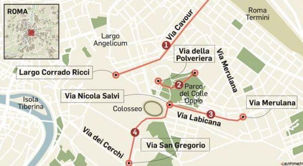 Colle Oppio, rivoluzione traffico: nuova Ztl vicino al Colosseo