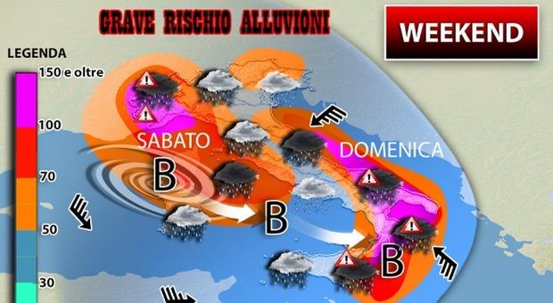 Maltempo, mezza Italia sott'acqua: rischio alluvioni nel weekend
