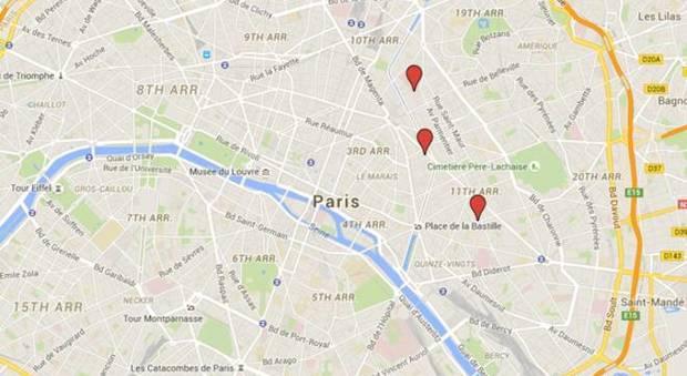 Cartina Centro Parigi.Parigi Gli Attentati In Centro La Mappa