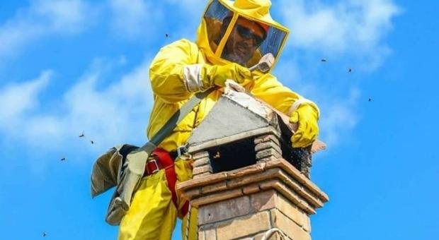Andrea Lunerti, di Morlupo. mentre libera un comignolo da un nido di calabroni
