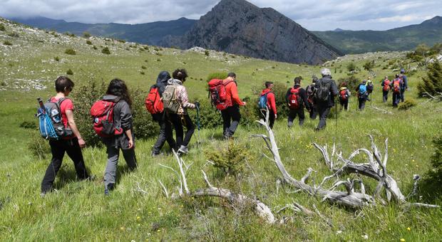 Escursionisti sui sentieri del Pollino