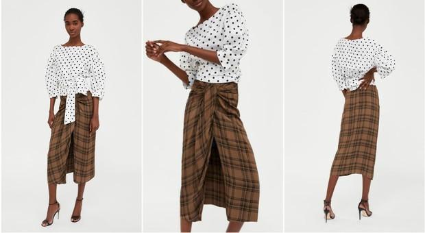 molti alla moda ultimo sconto acquista per il più recente Zara, la gonna a quadri sembra un sarong tradizionale: sui ...