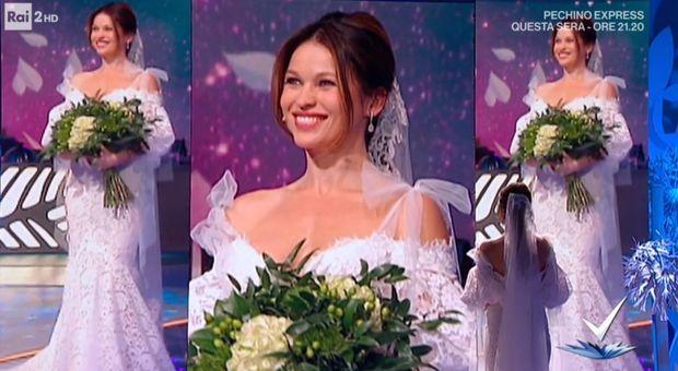 Yuliya Mayarchuk sposa a 'Detto fatto', l'emozione dell'abito bianco da Bianca Guaccero