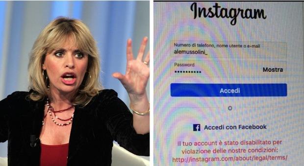 Alessandra Mussolini cancellata da Instagram:
