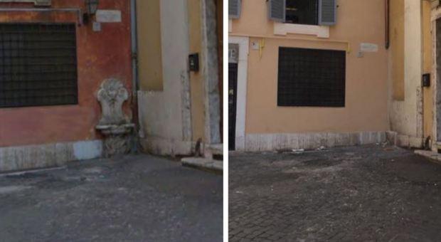 Fontanella storica scompare dopo il restauro del palazzo in centro a Roma, i residenti: «E' stata rubata»