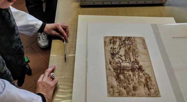 """Leonardo da Vinci, sotto il paesaggio riaffiora un disegno """"nascosto"""""""