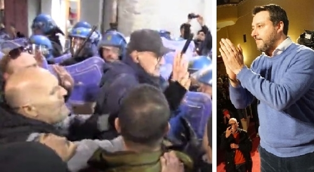 Matteo Salvini a Napoli, scontri al corteo degli antagonisti. Sardine, presenze flop