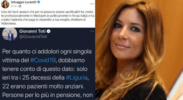 Toti e gli «anziani morti di Covid non indispensabili»: Selvaggia Lucarelli: «Uno di loro paga lo stipendio a tua moglie»