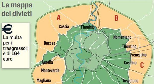 Cartina Dettagliata Fascia Verde Roma.Roma Oggi Il Blocco Auto Ecco Fasce Orarie E Mappa Dei Divieti