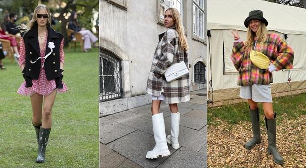 Gli stivali da pioggia tornano per l'autunno 2020, bianchi o a fantasia i modelli da avere
