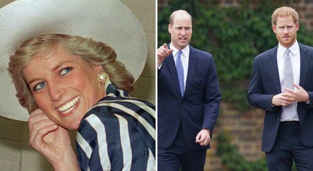 Lady Diana con i figli Harry e William