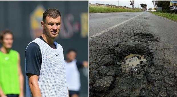 Calciatori della Roma vittime delle buche a Trigoria: auto ko per Dzeko e Perotti