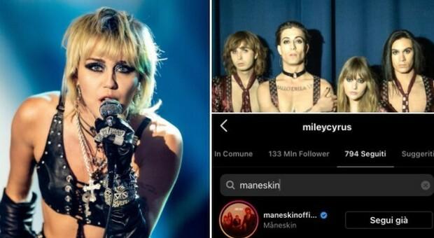 Miley Cyrus inizia a seguire i Maneskin su Instagram. E i fan sognano: «Vogliamo un duetto»