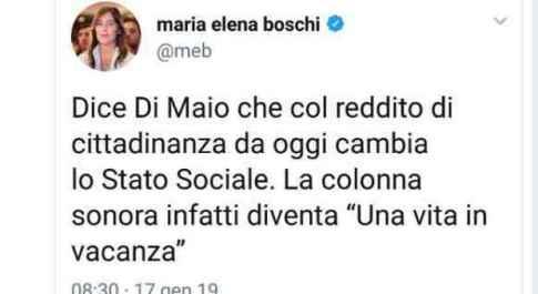 Il tweet di Maria Elena Boschi