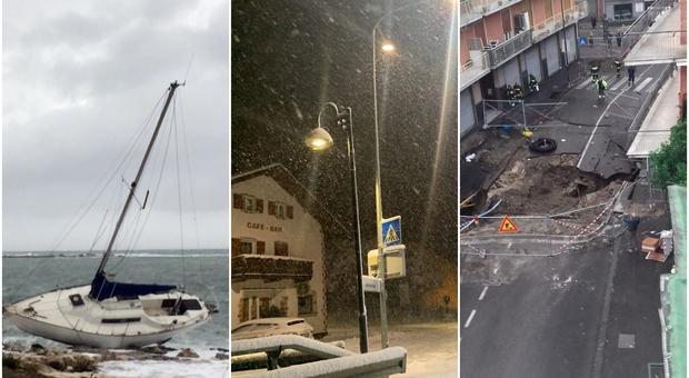 Maltempo, tromba d'aria in Salento, Alto Adige paralizzato dalla neve, maxi-voragine a Napoli