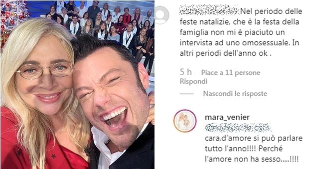 Mara Venier, fan omofoba contro Tiziano Ferro: «Omosessuali in tv ok ma non a Natale». Lei risponde così
