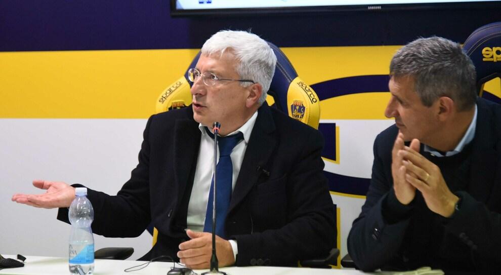 Il presidente Romano con il tecnico Maurizi