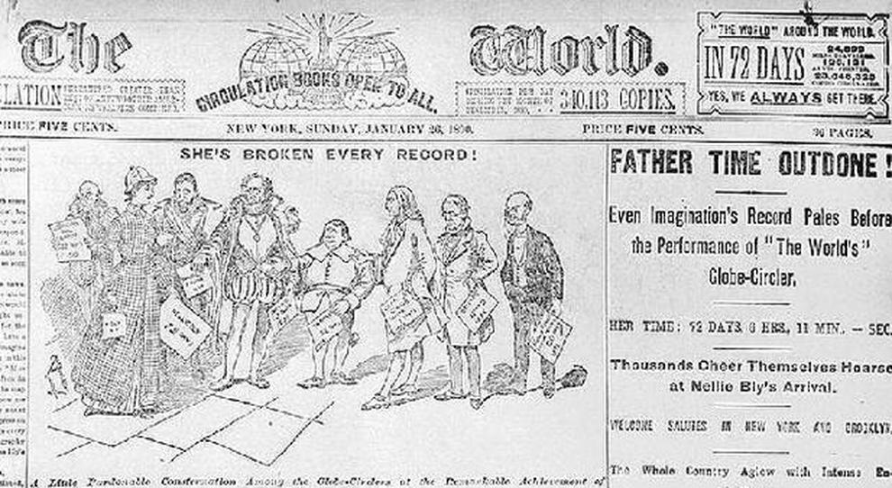 Un giornale dell'epoca sull'impresa di Nellie Bly