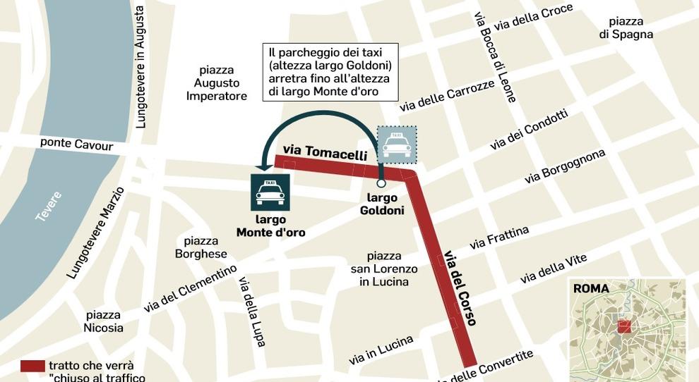 Piazza Di Spagna Cartina.Via Del Corso Dal Luglio Chiusa Alle Auto Ecco La Nuova Mappa