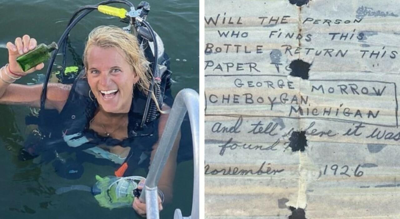 La barca per immersioni attraccata al molo del fiume Cheboygan in America