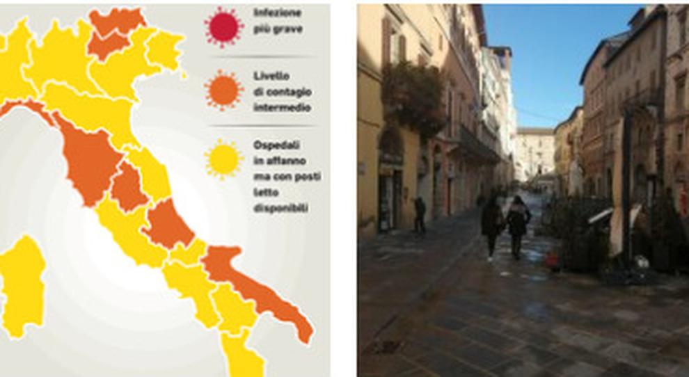 Umbria Cartina Italia.Colore Regioni Toscana Abruzzo Liguria E Trento Arancioni In Umbria Micro Zone Rosse La Nuova Mappa