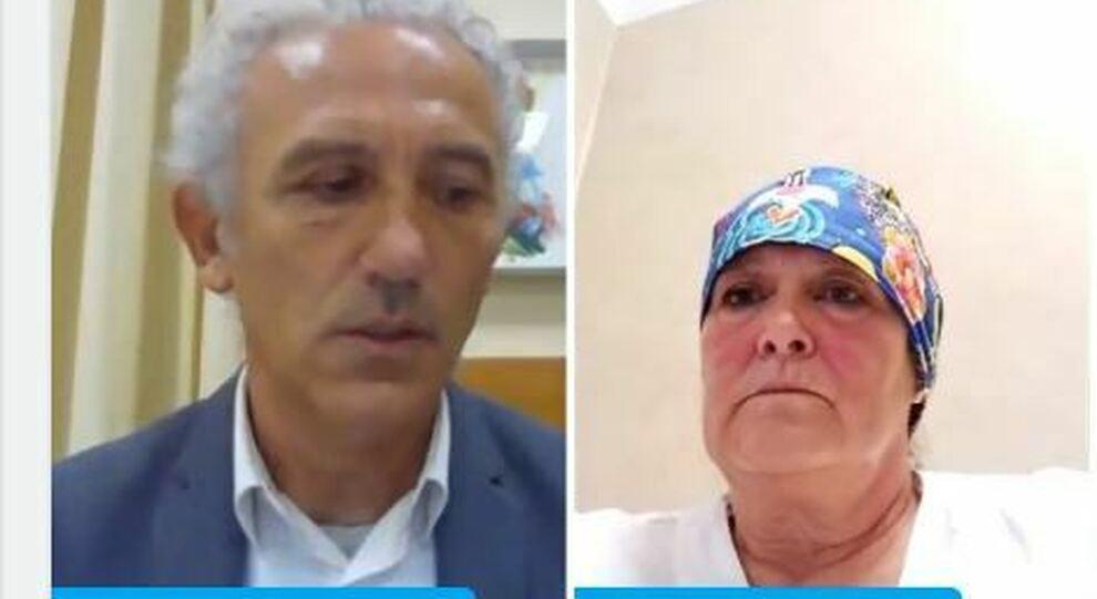 Il sindaco, Damiano Coletta, e Rita Dal Piaz durante la diretta facebook