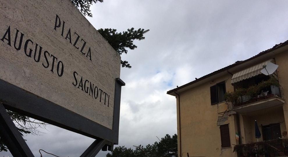 Piazza Sagnotti dopo il sisma