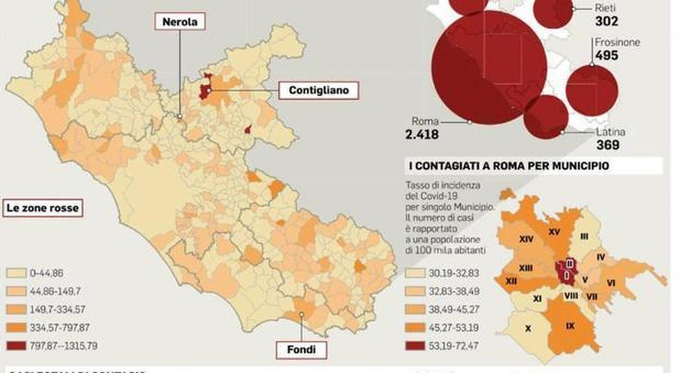 Cartina Topografica Del Lazio.Coronavirus Lazio Mappa Del Virus Nessun Malato In 156 Comuni